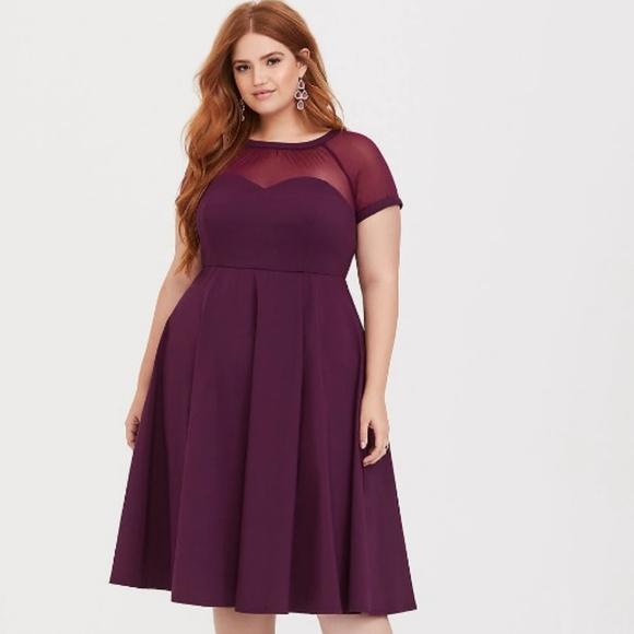 de0c7103c60 Torrid sz 10 Purple Illusion Neck Swing Dress